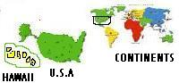 Map showing Continents, United States, & Hawaii